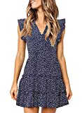 MITILLY Women's V Neck Ruffle Sleeve Pleated Casual Swing Short Dress with Pockets