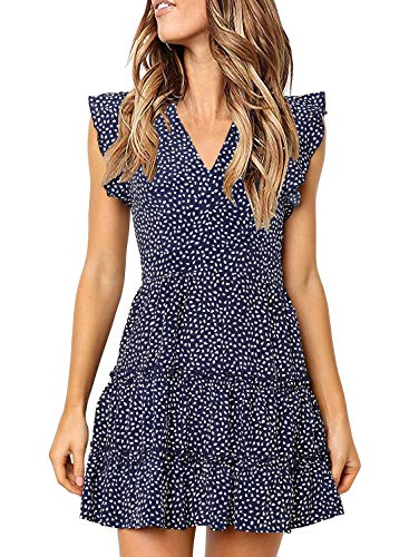 MITILLY Women's V Neck Ruffle Sleeve Pleated Casual Swing Short Dress with Pockets X-Large Dark Blue