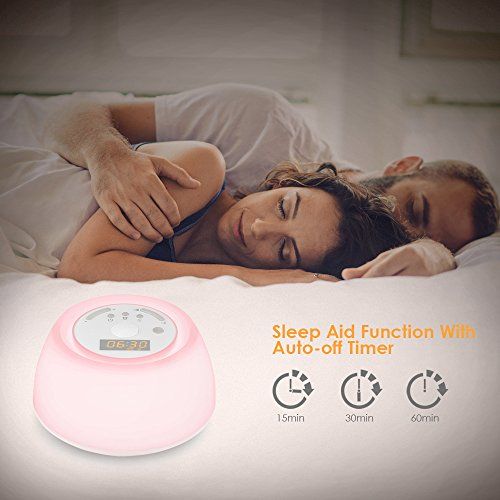 INLIFE Wake Up Light Alarm Light with Sunrise and 4 Natural Sounds, Noise with 4 Sounds, 7 Night Light