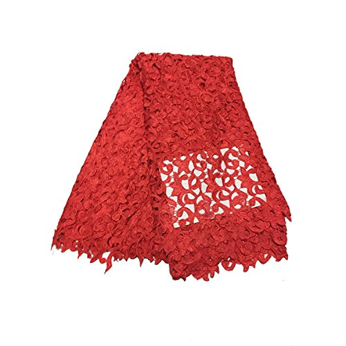 LaceQin 5 Yards French Hollow Water Soluble Embroidery lace Fabric 4 Colors (red)