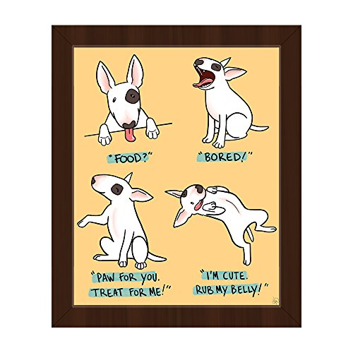 A Bull Terrier's Favorite Things - Yellow: Cute Dog Behavior: Food, Yawning-Bored, Treat Me, Rub My Belly! Graphic Wall Art Print on Canvas with Espresso Frame (Terrier Bull Art)