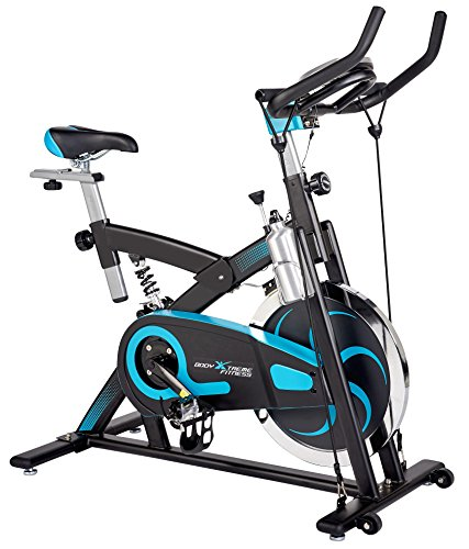 Body Xtreme Fitness Exercise Bike, Home Gym Equipment, Workout at Home, 40lb Flywheel, Resistance Bands, Drink - Flywheel End