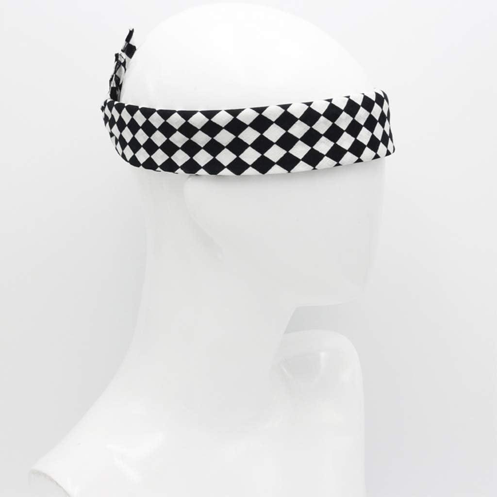 zhiwenCZW 55x55cm White Black Checkered Flag Racing Bandana Unisex Multi-Use Square Headband Motorcycle Outdoor Sports Hair Wrap Wristband