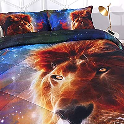 DECMAY 3D Gold Lion Bedding with Blue Mythical Starship Print Galaxy Space Comforter Set for Kids and Adults 3 Pieces Box Stitched Durable Quilt Set, Queen Size: Home & Kitchen