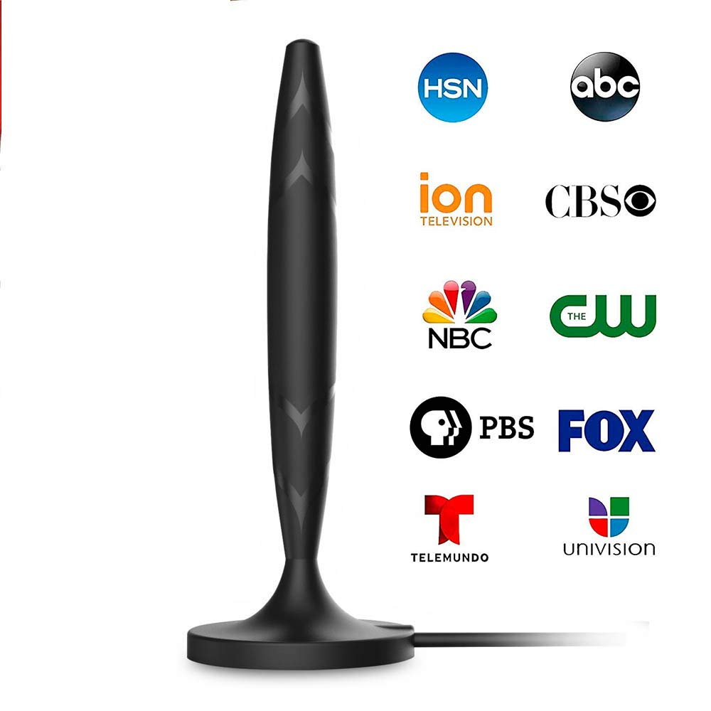 Amplified HD Digital Indoor Smart TV Antenna - 60 120 Miles Range Support 4K 1080p and Older TV's Powerful HDTV Best Amplifier Signal Booster - 9.8ft Coax Cable/USB Power Adapter by Antess