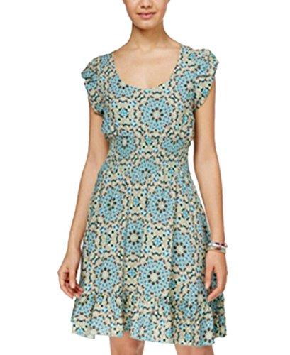 American Rag Printed Smocked Ruffle-Hem Dress - Agate Green