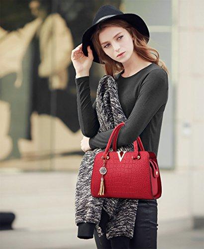 Leather Handbag Women Wine Crossbody Fashion Black Red Shoulder amp;Doris Nicole PU Satchel Bag Purse qEnvWtw