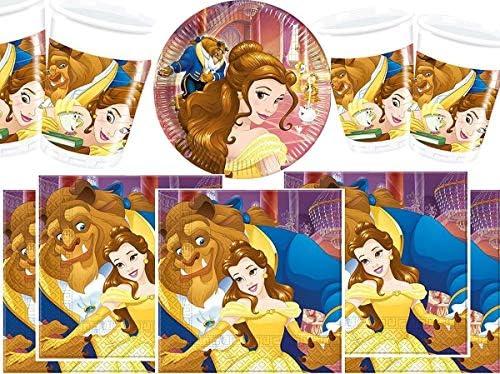 Conjunto para fiestas de la Bella y la Bestia de Disney, vasos, platos y servilletas, 16 piezas