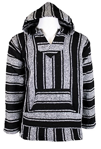 Baja Joe Striped Woven Eco-Friendly Jacket Coat Hoodie (Black, Large)