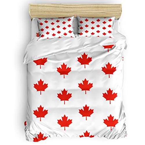 EZON-CH 4 Piece Duvet Cover Set Kids Bedding Set Bedroom Collection,Red Maple Leaves Arranged Soft Child Bed Sheet Set,Include 1 Duvet Cover 1 Bed Sheets 2 Pillow Cases Queen - Bedroom Bed Maple Canopy