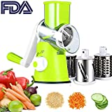 Vegetable Slicer Cheese Grater Rotary Rotary Drum Grater 3-Blades Manual Vegetable Mandoline Chopper with Suction Cup Feet Vegetable Fruit Cheese Shredder Stainless Steel
