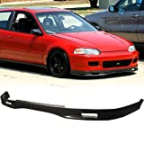Front Bumper Lip Fits 1992-1995 Honda Civic | Spoon Style Black PU Front Lip Finisher Under Chin Spoiler Add On by IKON MOTORSPORTS | 1993 1994