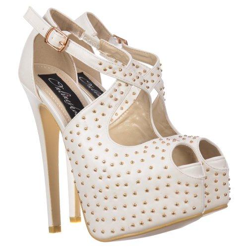 Mesdames Blanc plate PU Stiletto blanc chaussures cloutées forme haut Pu lanières de talon Onlineshoe SAg7WqdS