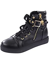 Cyber Monday Womens Stylish New Comfortable Skull Lace Up Buckle Zipper Skull Flats Sports Canvas Sneakers Shoes