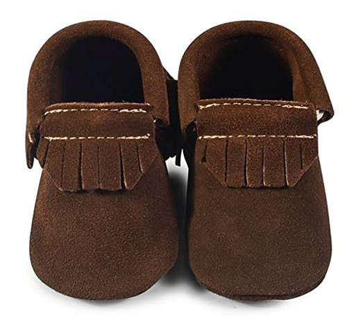 Suede Moccasins Classic (Baby Moccasins, The Coral Pear Classic Moccasin, Genuine Leather Shoes for Babies & Toddlers, Brown Suede, Size 5M (Babies & Toddlers))
