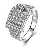 Daesar Anniversary Rings Cubic Zirconia Belt Ring Round Cut White Cubic Zirconia Ring Size 7