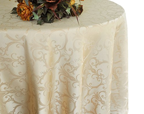 Wedding Linens Inc. 108 Inch Round Versailles Chopin Jacquard Damask Polyester Tablecloths Table Cover Linens for Restaurant Kitchen Dining Wedding Party Banquet Events - Champagne -