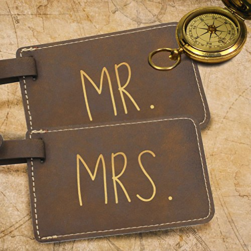 Mr and Mrs His and Hers Couples Luggage Travel Tags for Bags - Gift Set of 2 (Mr and Mrs Rawhide) by My Personal Memories (Image #1)