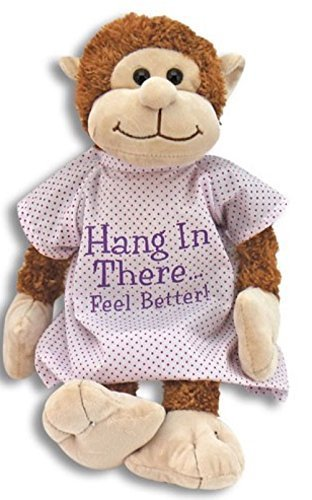 - Hang in There Feel Better Get Well Plush Monkey in Hospital Gown