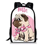 Cute Pug Dog School Backpack Children Bookbag 17inch Travel Shoulder Bag Lightweight Daypack for Boys Girls