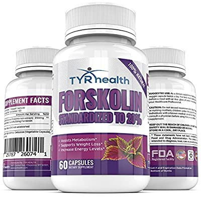 TYR Health Natural Forskolin (60 Veggie Capsules) - Natural Weight Loss Supplement and Appetite Suppressant - Extract Helps Restore Metabolism - Safe Carb Blocker and Fat Burner