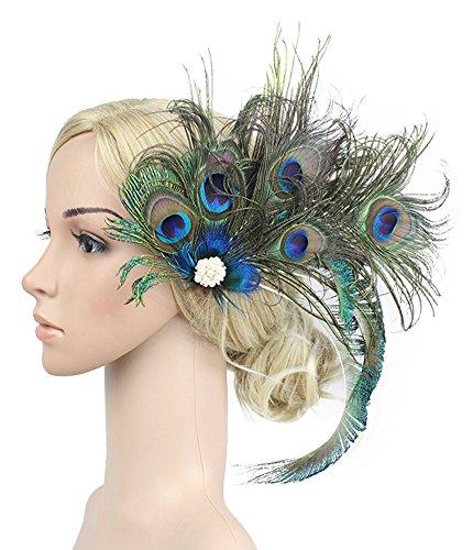 Urban CoCo Women's Indian Peacock Feather Headband Hair Clip Flapper Headpiece (Black)]()
