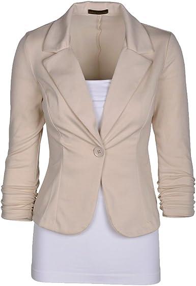 CHENGYANG Veste de Tailleur Manches 3//4 Un Boutons Uni Veste Manteau Blazer Court Femme