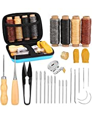 29 Pcs Leather Sewing Kit, Leather Tooling Kit with Curved Mattress Needles, Waxed Thread, Storage Bag and Awl, Leather Working Tools and Supplies for Sewing, Crafting, Bookbinding