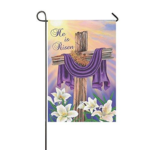 Rossne G sun Garden Flag Easter Cross He Is Risen House Flag Decoration Double Sided Flag 12.5