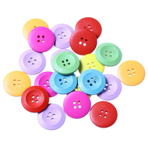 PEPPERLONELY Brand 100PC Mixed Color 4 Hole Scrapbooking Sewing Wood Buttons 25mm(1 Inch) Wood Color Sewing Button