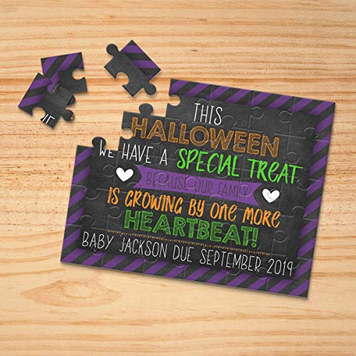 Personalized Halloween Themed Pregnancy Announcement Puzzle- Pregnancy Reveal - Baby Announcement - Having a baby Announcement - P2349