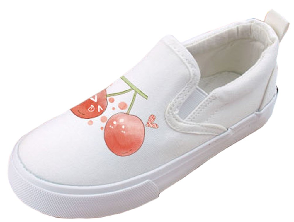 VECJUNIA Boy's Girl's Cartoon Casual Antiskid Elastic Round Toe Flats Slip-On Loafers (White1, 13.5 M US Little Kid)