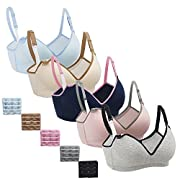 Nursing Bra,Womens Maternity Breastfeeding Bra Wireless Sleeping Bralette Extenders,Navy Gray Nude LightBlue Gray-Pinkband,L Size