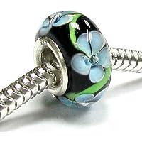 Sterling Silver Black Blue Flower Glass Bead for European Chamilia Biagi Troll Pandora Charm Bracelets