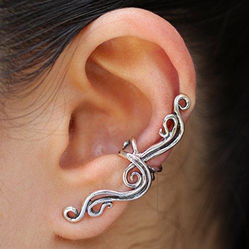 (Silver Ear Cuff Ocean Jewelry Wave Ear Cuff Water Jewelry Swirl Ear Cuff Swirl Earrings French Twist Ear Cuff Wave Ear Cuff Non-Pierced Earring - Wedding Jewelry)