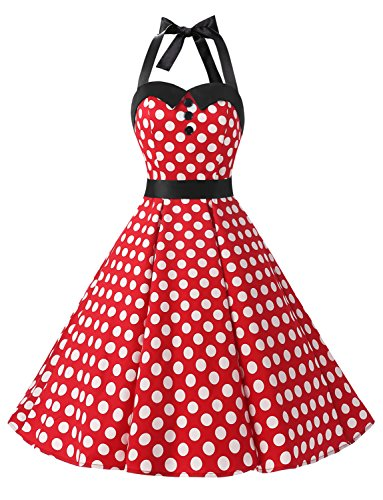 Dressystar Vintage Polka Dot Retro Cocktail Prom Dresses 50's 60's Rockabilly Bandage Red White Dot -