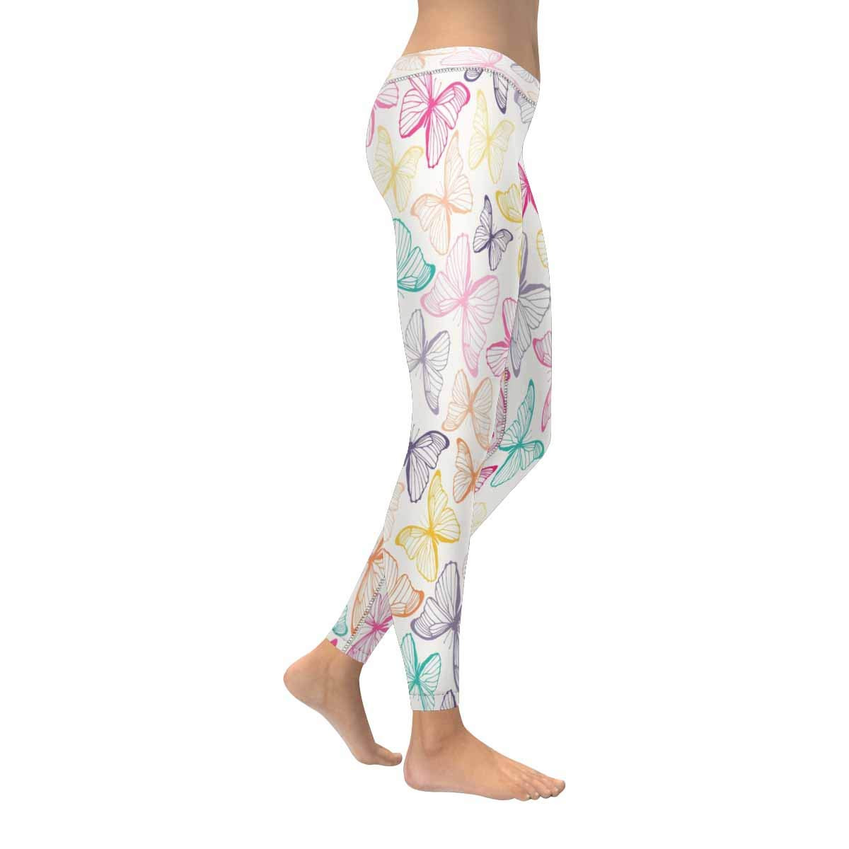 InterestPrint Womens Stretchy Yoga Pants Funny Butterflies Soft Slim Low Rise Leggings XXS-5XL