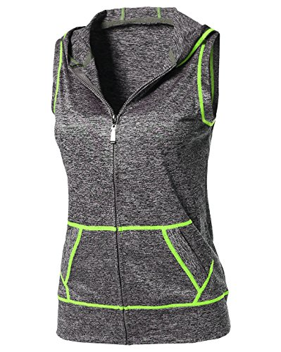 Sport Hooded Vest (Made by Emma Sports Yoga Workout Training Stretch Hooded Zipper Vest Neon Yellow LXL Size)
