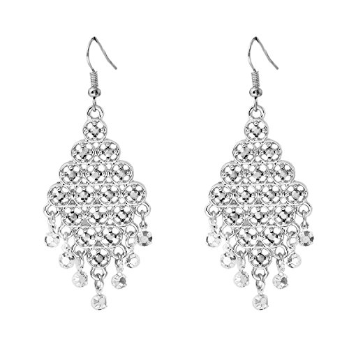 (D EXCEED Gift Idea Clear Crystal Dangle Drop Earrings Chandelier Charm Ear Accessory for Women and Ladies Silver)