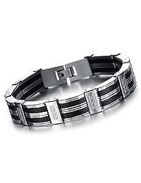 Oidea Mens Stainless Steel Rubber Bracelet Link Wrist Silver Black Tone,8.27 Inch