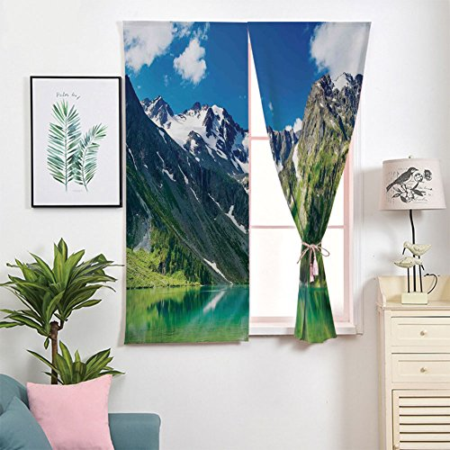 Voile Panel Skirt - iPrint 3D Blackout Window Curtains,Free Punching Magic Stickers Curtain Portable,Paste Style,Mountains Snowy Peaks Wooded Skirts Sky,Lime,2 Panels,for Living Room