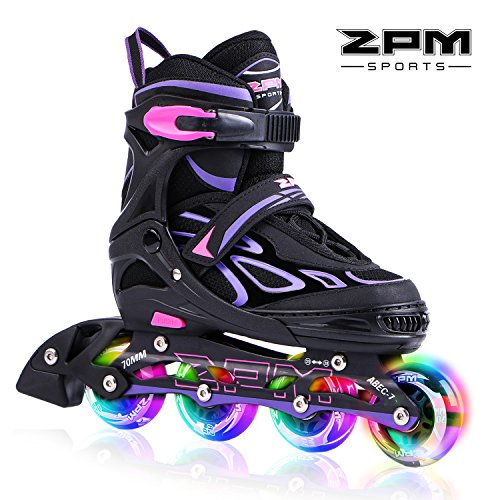 2pm Sports Vinal Girls Adjustable Flashing Inline Skates, All Wheels Light Up, Fun Illuminating Rollerblades for Kids and Ladies - Violet L