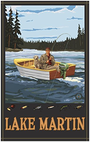 Lake Martin Georgia Fisherman In Boat Forest Travel Art Print Poster by Paul A. Lanquist (30