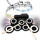 Hindom Electronic Drum Set for Kids, Electronic Drum Pad with Roll-Up with Built-in Speakers Foot Pedals Drumsticks, US STOCK