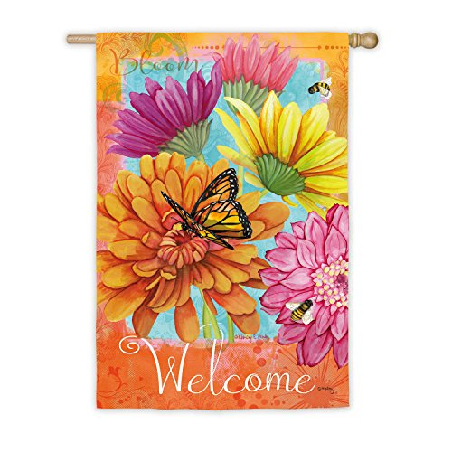 Evergreen A Colorful Welcome Suede House Flag, 29 x 43 inches