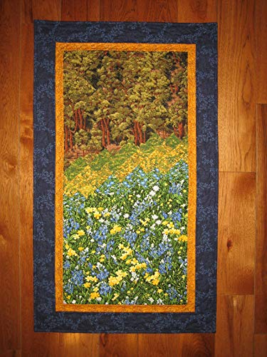 Art Quilt, Blue Yellow Flower Forest Fabric Wall hanging Tapestry Landscape 24x40