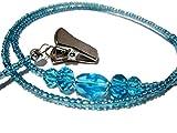 ATLanyards Bright Blue Eyeglass Holder - Beaded Eyeglass Chain With Clips