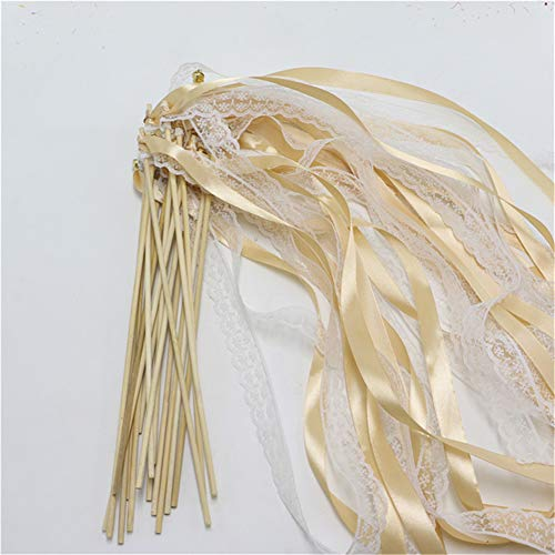 Hoxekle 20Pcs Fairy Stick Champage Lace Ribbon Twirling Streamers Wedding Favor Sticks/Wands with Bells Fairy Stick Party (Gold Ribbon Wands)