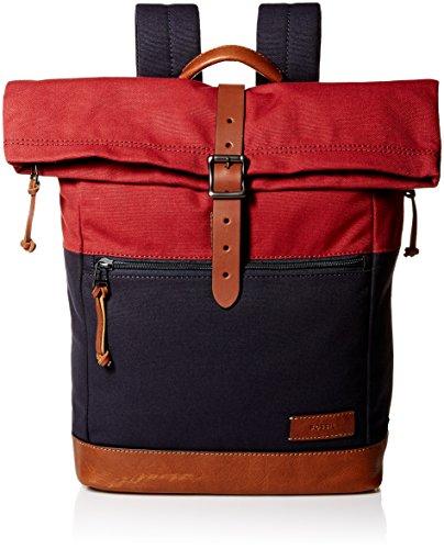 Fossil Men's Defender Rolltop Backpack, Navy/Red - Fossil Top
