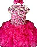 Jenniferwu Infant Toddler Baby Newborn Little Girl's Pageant Party Birthday Dress G225-4 Fuchsia Size 5T